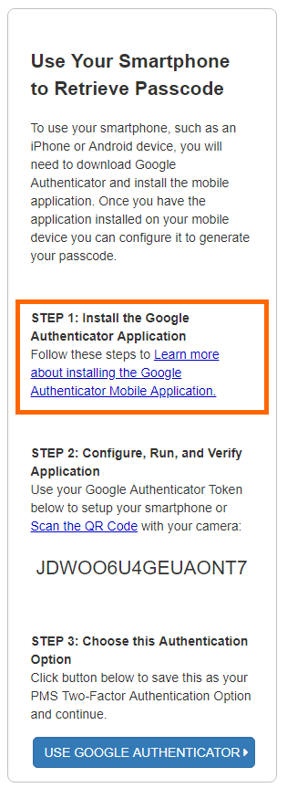PMS User Guide: Two-Factor Authentication | HHS PSC FMP