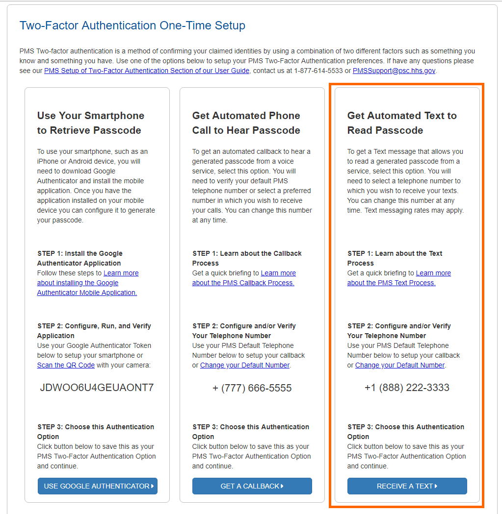 PMS User Guide: Two-Factor Authentication | HHS PSC FMP Payment