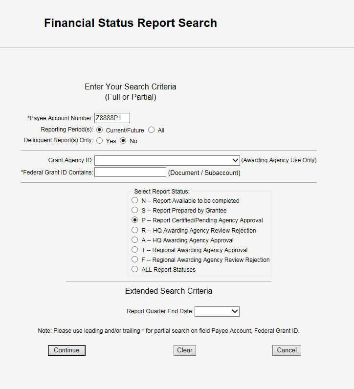 Screen shot of the Financial Status Report Search screen with the account number Z8888P1 in the Payee Account Number field, and the Report Status radio button 'P' selected.