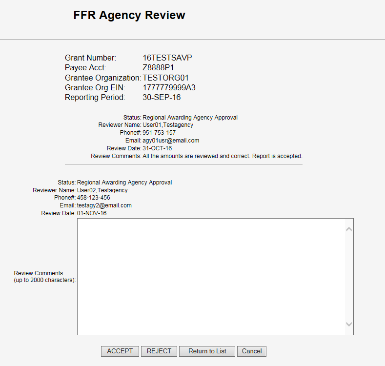 Screen shot of the FFR Agency Review screen, before comments and approval.
