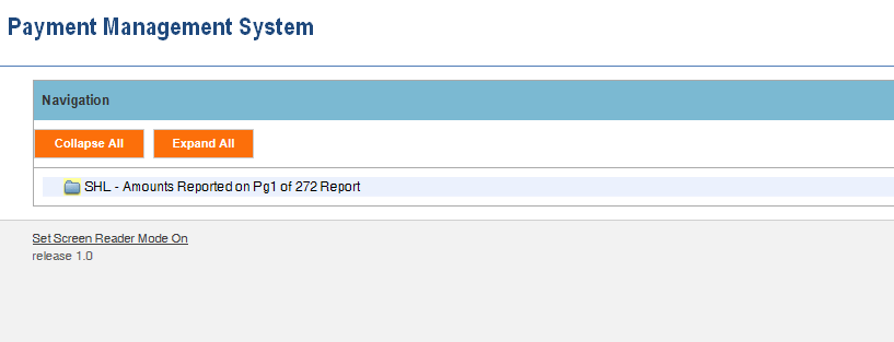 Screen shot of the APEX report screen  listing the SHL report link.