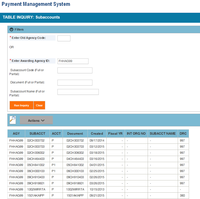 Screen shot of the APEX report screen displaying the Subaccount Table report information.