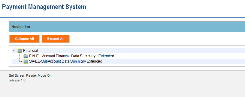 Screen shot of the APEX report screen listing a link for the (FIN E) Account Financial Data Summary report and the (SA-EE) Subaccount Data Summary Extended report.