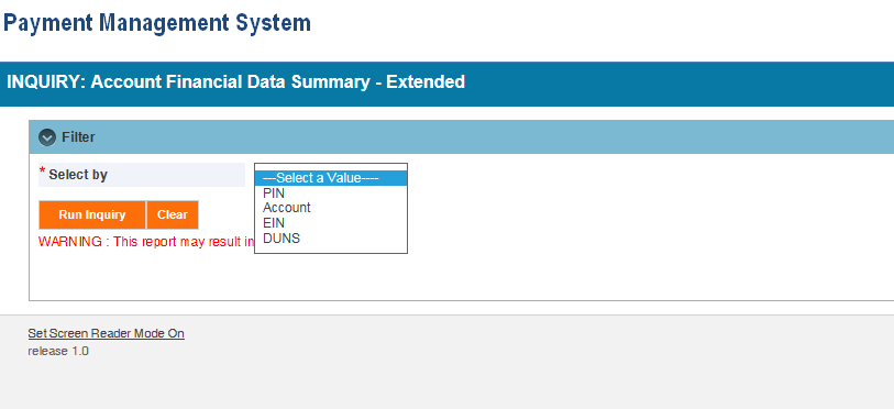 Screen shot of the APEX report screen for a (FIN E) Account Financial Data Summary report, showing the parameter entry area.