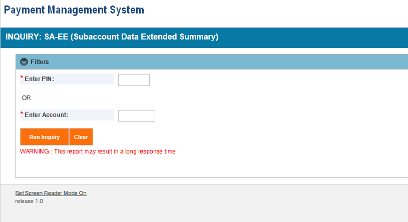 Screen shot of the APEX report screen for a (SA-EE) Subaccount Data Summary Extended report, showing the parameter entry area.