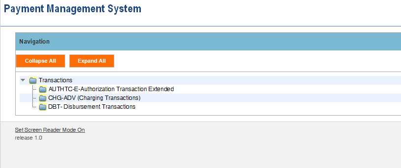 Screen shot of the APEX report screen listing links for the AUTHTC-E Authorization Transaction Extended report, the CHG-ADV (Charging Transaction) report, and the DBT Disbursement Transactions report.