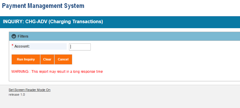 Screen shot of the APEX report screen for a CHG-ADV (Charging Transactions) report, showing the parameter entry area.