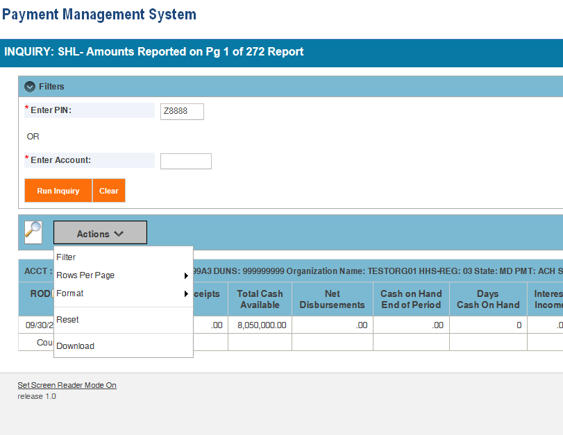 Screen shot of the APEX report screen displaying the SHL report information with the Actions drop down box open to show the Download menu option.