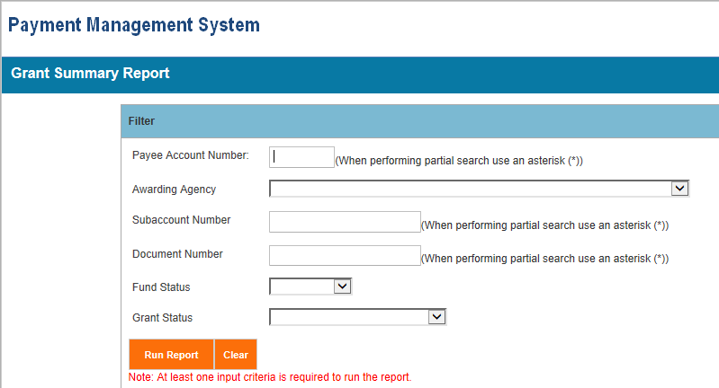 Screen shot of the APEX report screen for a DBT - Disbursement Transactions report, showing the parameter entry area.