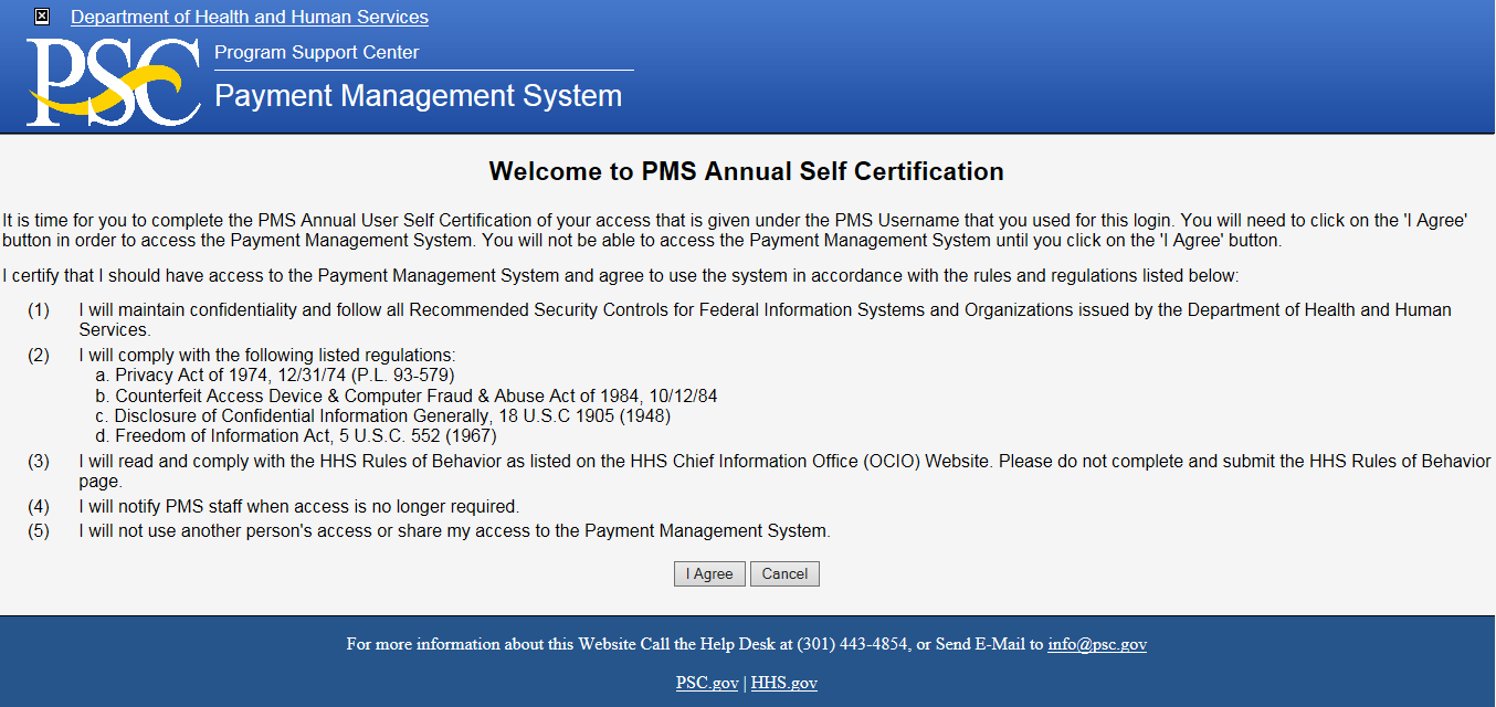 PMS Annual Self Certification screen shot