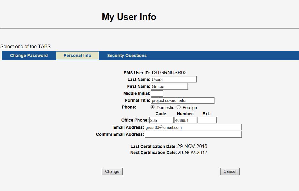 My User Info screen shot showing last and next certification dates