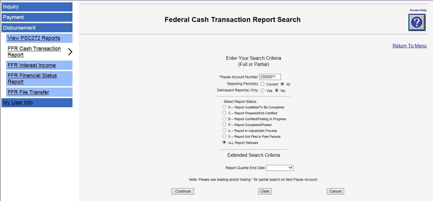 Screen shot of the FCTR report search page.