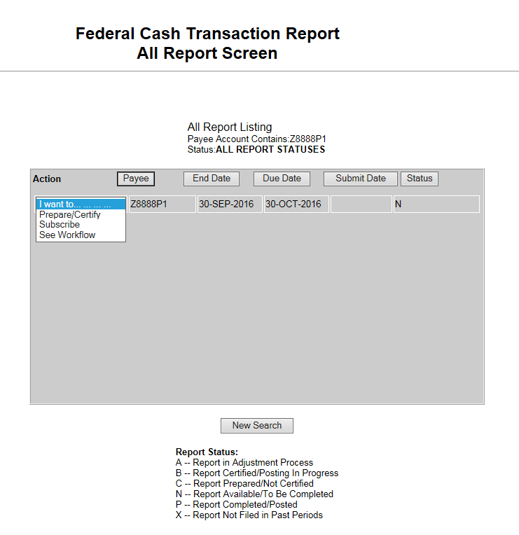 Screen shot of the FCTR All Report Screen, showing the dropdown options for 'I want to'