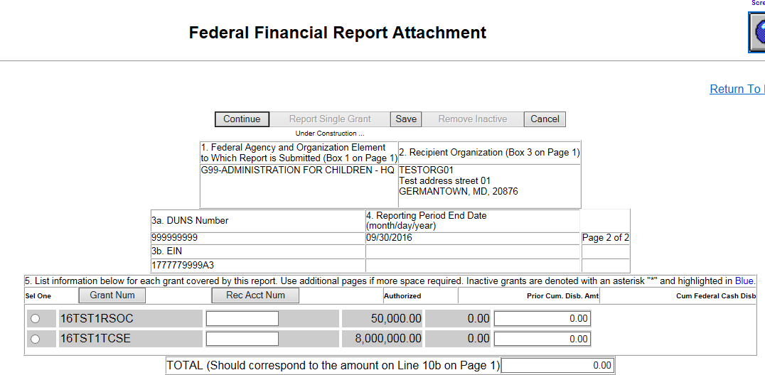 Screen shot of the FCTR Report Attachment page.