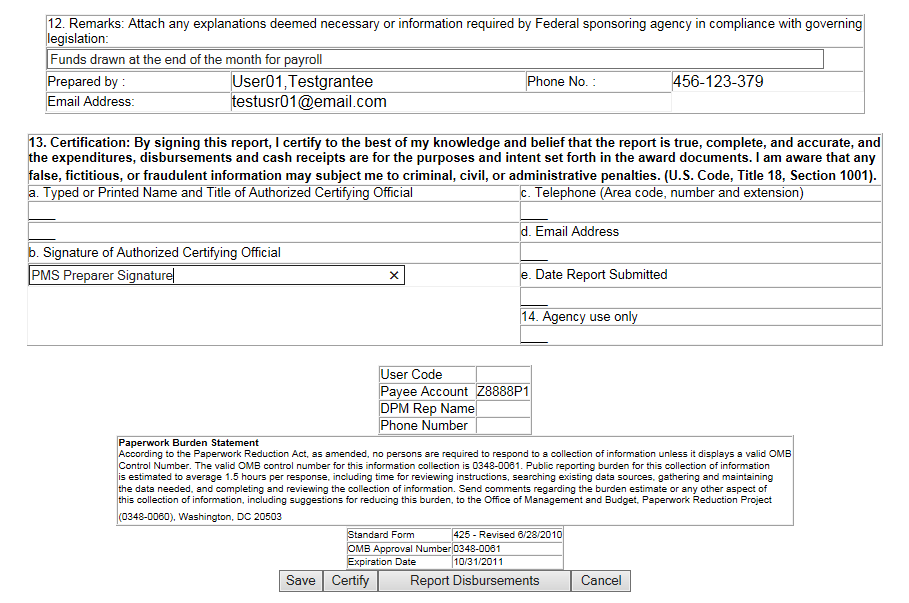 Screen shot of the FCTR Certification page, prior to certification