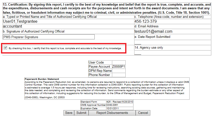 Screen shot of the FCTR certification page, with a red box around the certification check box.