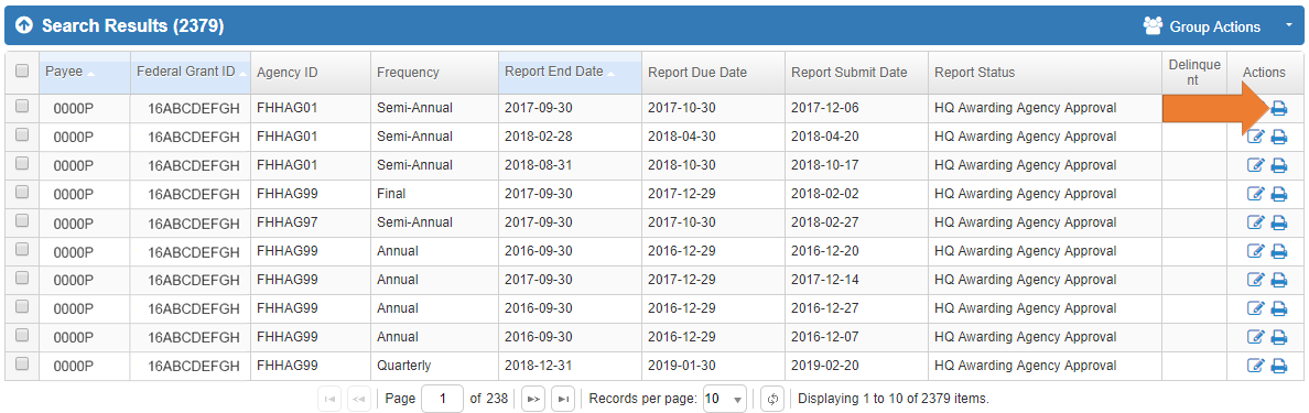 Screen of the Federal Financial Report Search Results Grid with Print Icon.