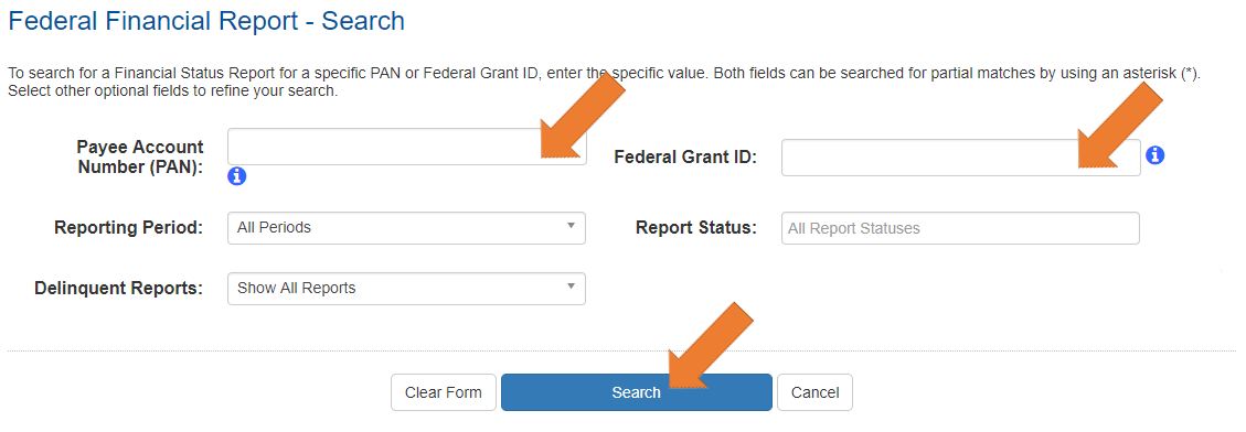 Screen of the Federal Financial Report Search screen no values chosen.