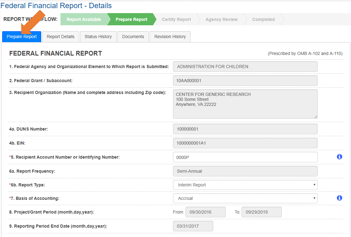 Screen of the Federal Financial Report Details with the Prepare Report Tab Selected.