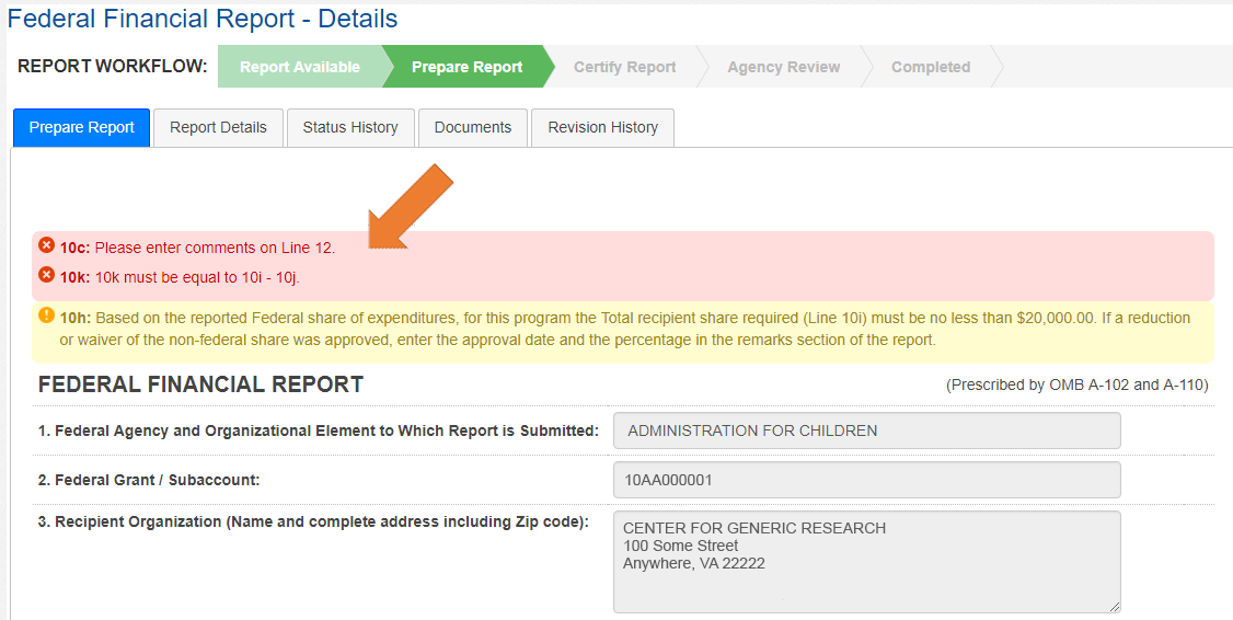 Screen of the Federal Financial Report Details with the Prepare Report Tab Selected - Error pop-up.
