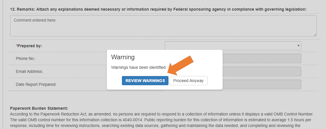 Screen of the Federal Financial Report Details with the Prepare Report Tab Selected - Warning pop-up.