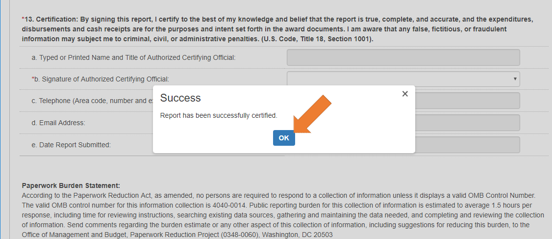 Screen of the Federal Financial Report Details with the Prepare Report Tab Selected - Success pop-up.
