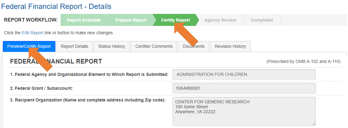 Screen of the Federal Financial Report Details in Certify view.