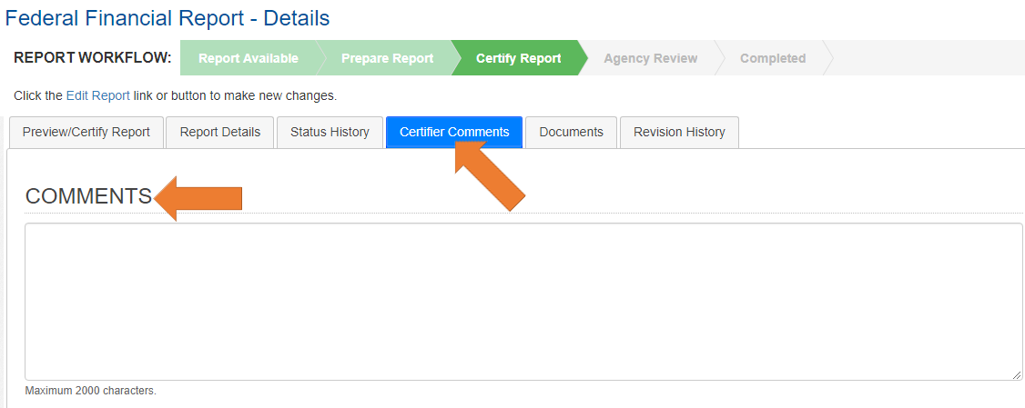 Screen of the Federal Financial Report Details with the Certifier Comments Tab Selected.