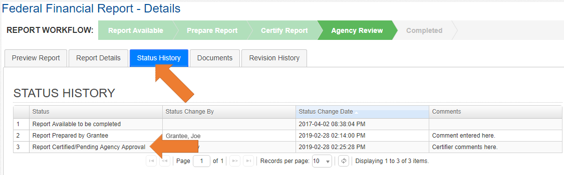 Screen of the Federal Financial Report Details with the Status History Tab Selected.