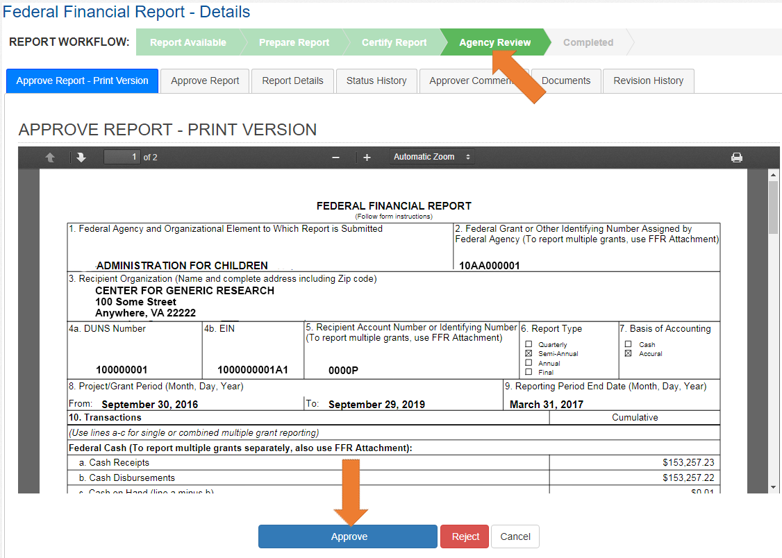 Screen of the Federal Financial Report Details with the Approve Report - Print Version Tab Selected.