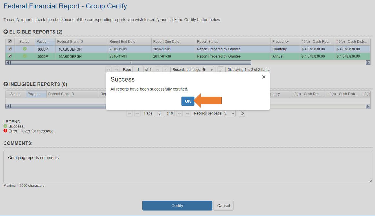 Screen of the Federal Financial Report - Group Certify with Success pop-up