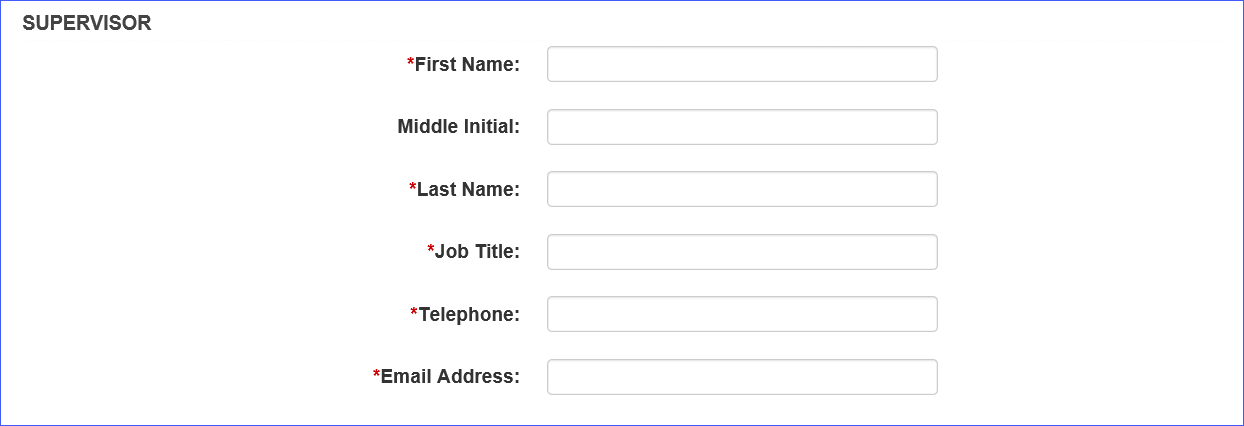 Screen shot of the supervisor information form.