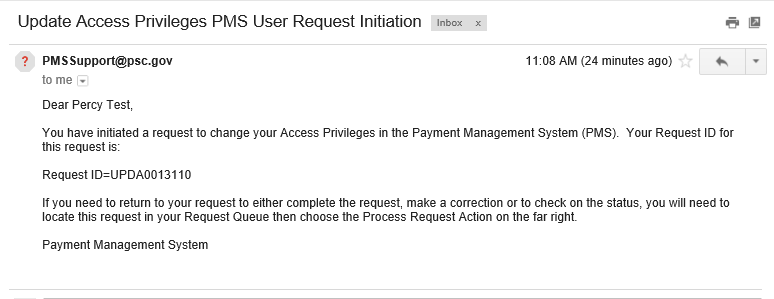 Screen shot of the update access change initiation email.