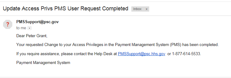 Screen shot of a sample email following a completed access change.