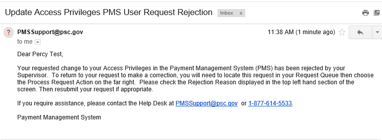 Screen shot of a sample rejection email.