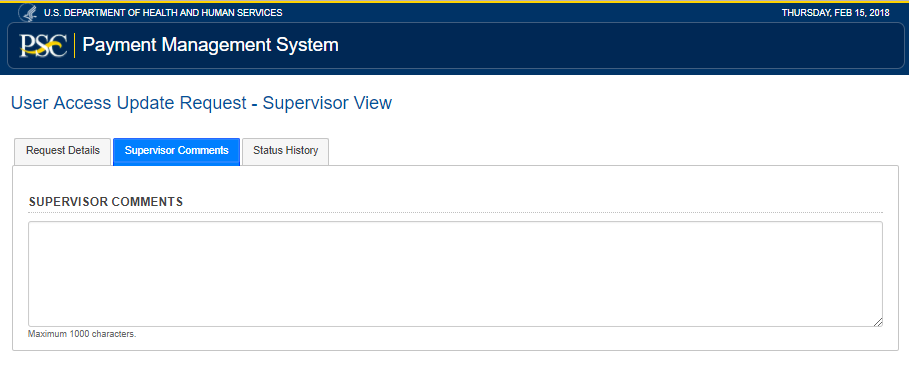 Screen shot of the update access supervisor comments tab.