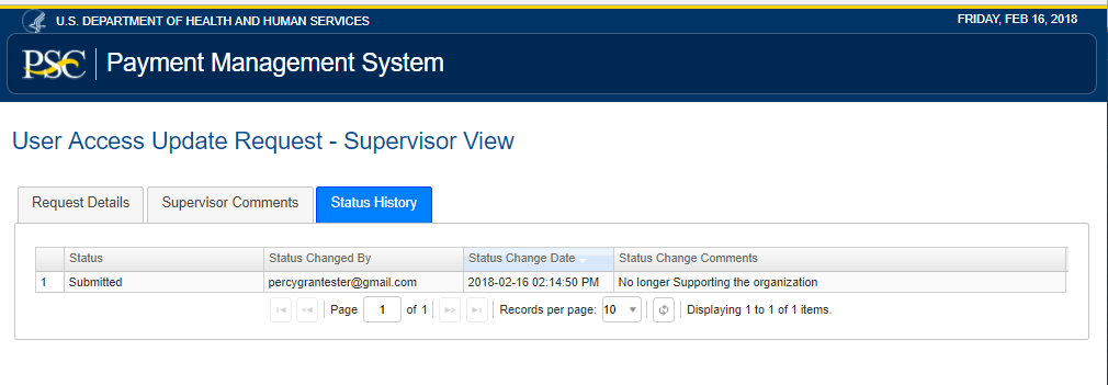Screen shot of the update access supervisor status history tab.