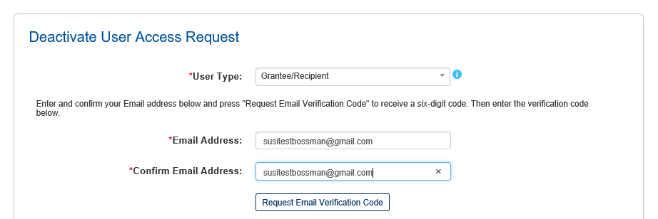 Screen shot of the code verification request.