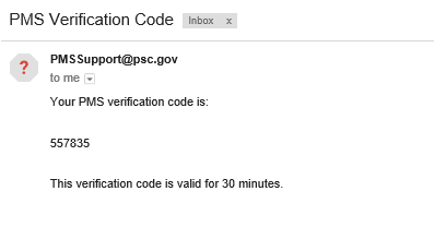 Screen shot of a sample verification email.