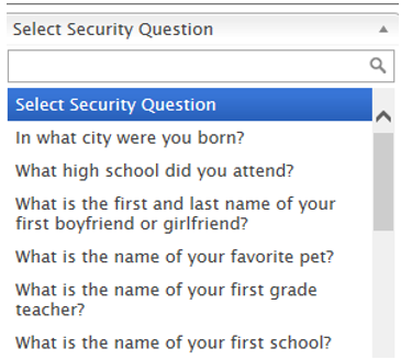 Screen shot of security question dropdown box.