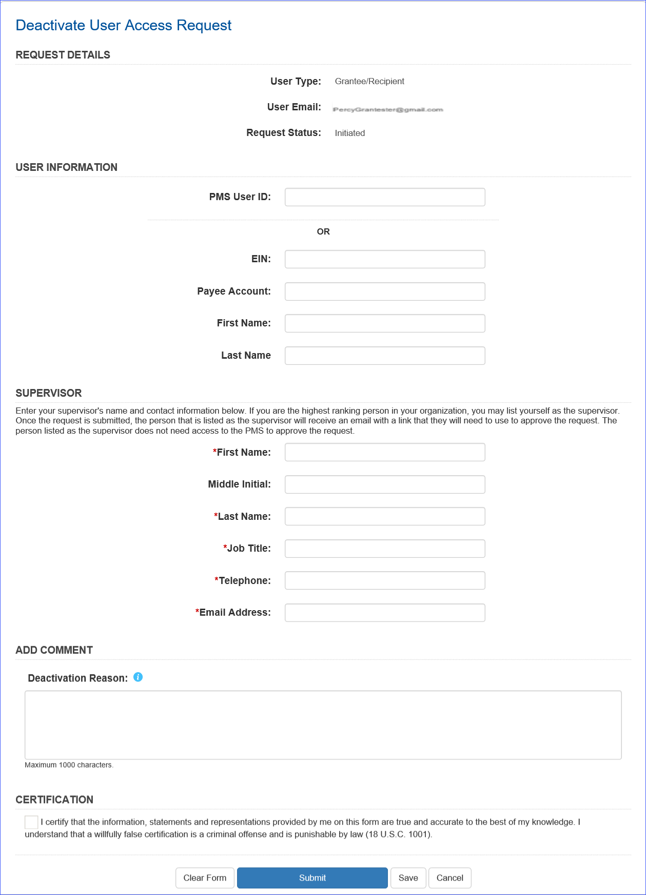 Screen shot of the deactivation request form.