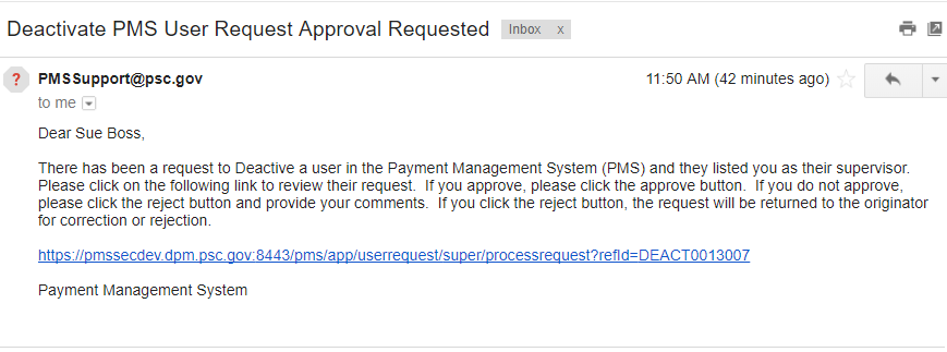 Screen shot of a sample supervisor approval request email, with the link to the review page called out with a red arrow.