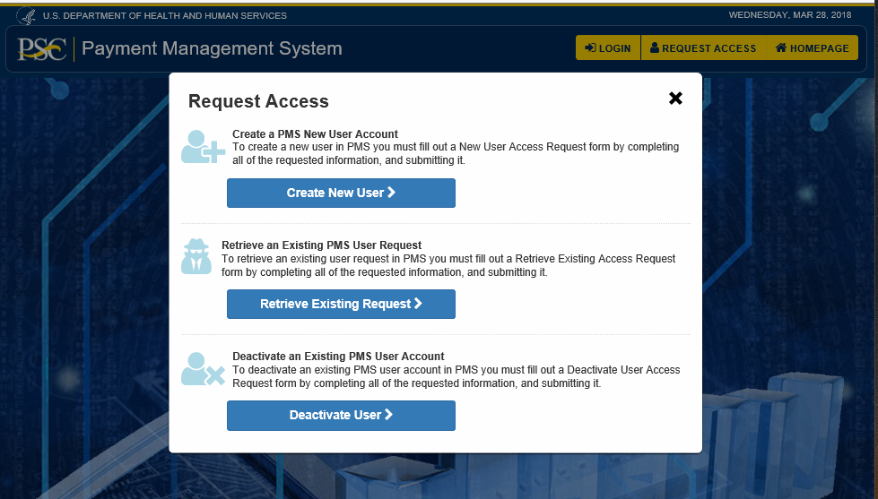 Screen shot of the External Retrieve Exiting Requests Access