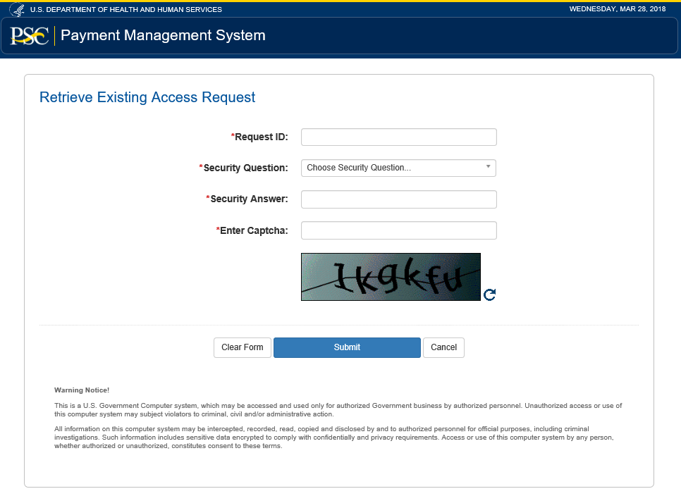 Screen shot of the Retrieve Existing Access Requests Form