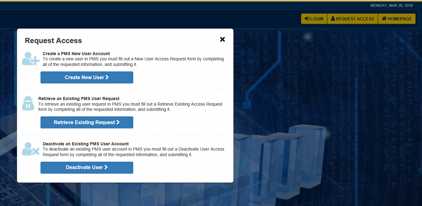 Screen shot of user registration selection box