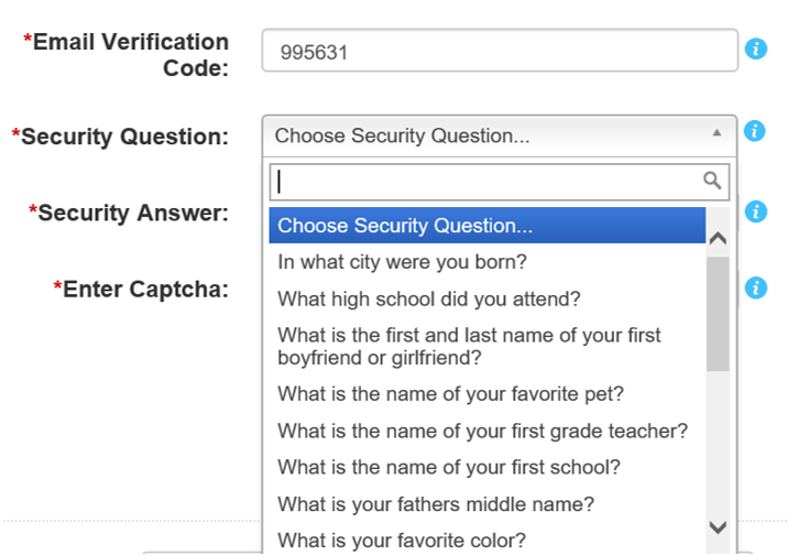 Screen shot of the security question dropdown.