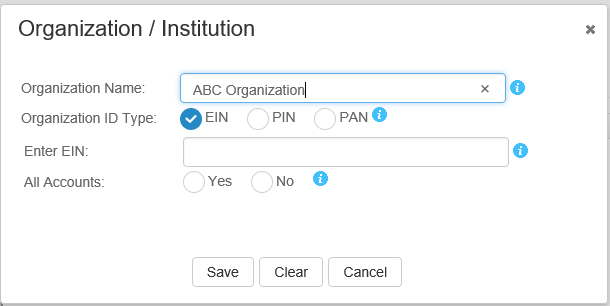 Screen shot of the EIN entry field, after EIN is chosen as the Organization ID type.