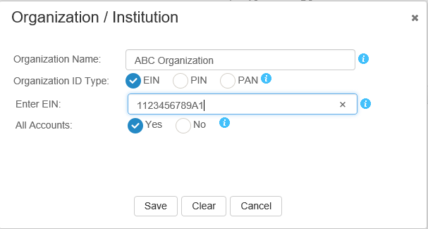 Screen shot of EIN entered in the EIN entry field, and Yes selected for All accounts.