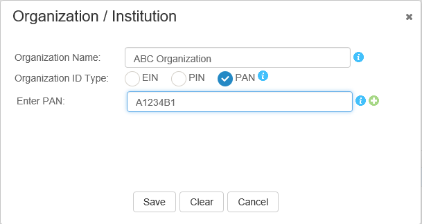 Screen shot of PAN entry field after PAN is chosen as the Organization ID type.
