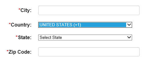 Screen shot of country selection dropdown with United States chosen.